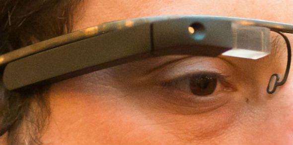 Google Project Glass augmented reality glasses close-up