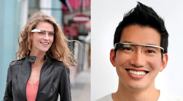 Google Project Glass augmented reality glasses worn by guy and girl