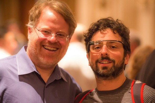 Robert Scoble and Sergey Brin wearing Google's Project Glass AR eyewear