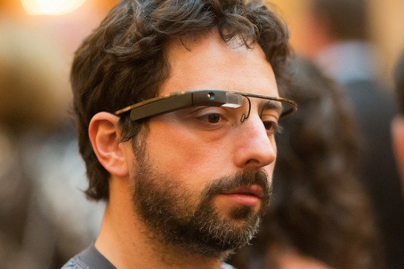 Sergey Brin wearing Google's Project Glass AR eyewear