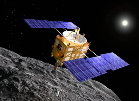 Artist's impression of Hayabusa space probe over asteroid Itokawa