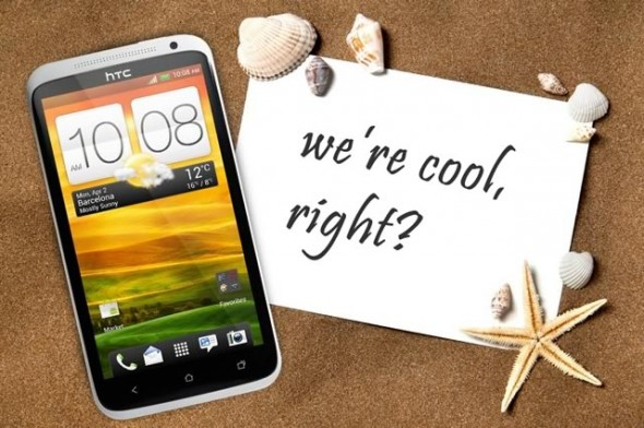 HTC One X white on sand