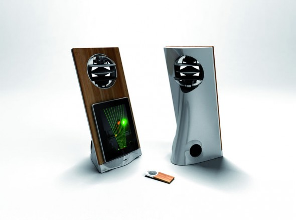 Jarre Technologies AeroPad One iPad speaker dock in bamboo