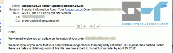 Olympus OM-D E-M5 Amazon UK shipping delay email