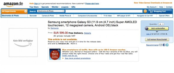 Amazon Germany Samsung S3 product page