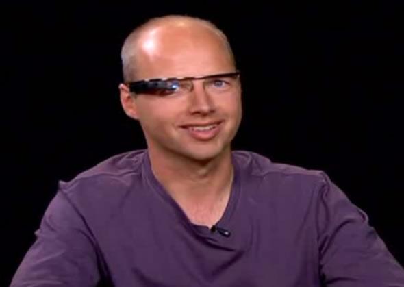 Sebastian Thrun wearing Project Glass headset at Charlie Rose interview