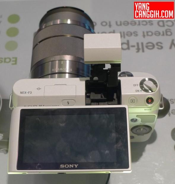 Sony NEX-F3 MILC tilting screen and pop-up flash