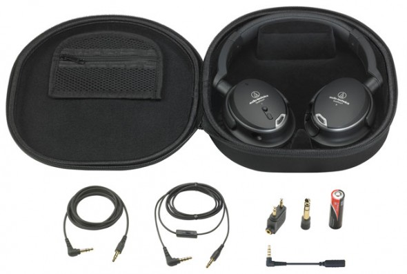 Audio-Technica ATH-ANC9 headphones, accessories and carrying case