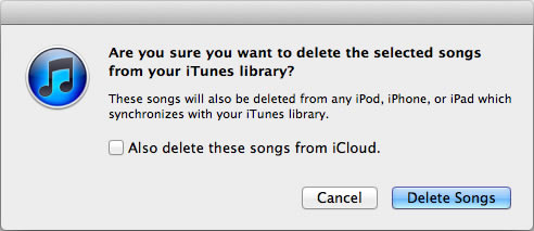 Delete songs from iTunes library