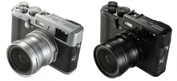 Fujifilm WCL-X100 wide angle conversion lens attached to the camera - silver and black
