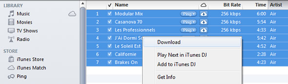 Download 256kbps files from iCloud