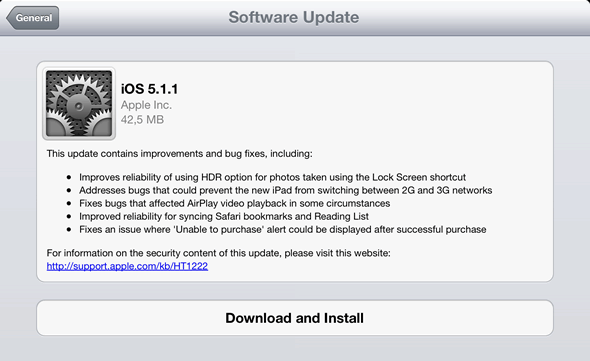 iOS 5.1.1 software update
