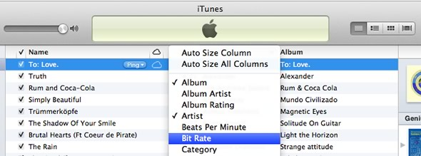 iTunes add bit rate column