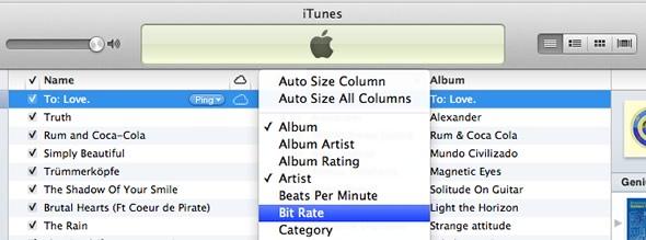 iTunes add bit rate column