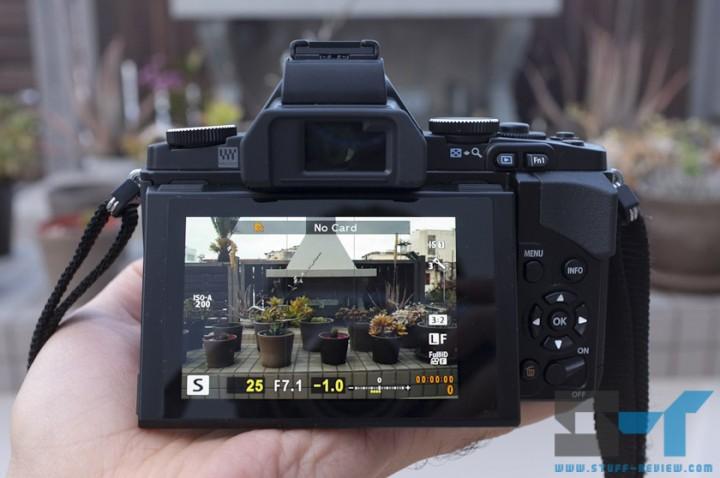 Olympus OM-D E-M5 digital camera back - titling OLED display
