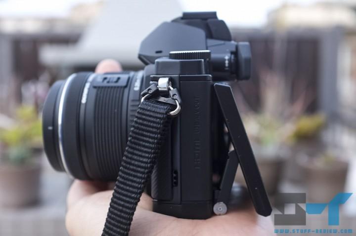 Olympus OM-D E-M5 digital camera left side