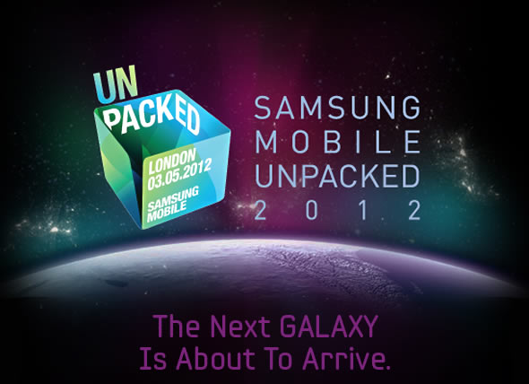 Samsung Unpacked 2012 event banner: Galaxy S3