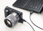 Sony NEX-F3 connected to a laptop