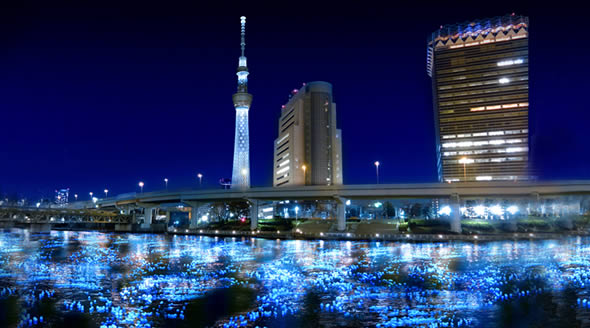 Tokyo Hotaru festival firefly LEDs floating down Sumida river