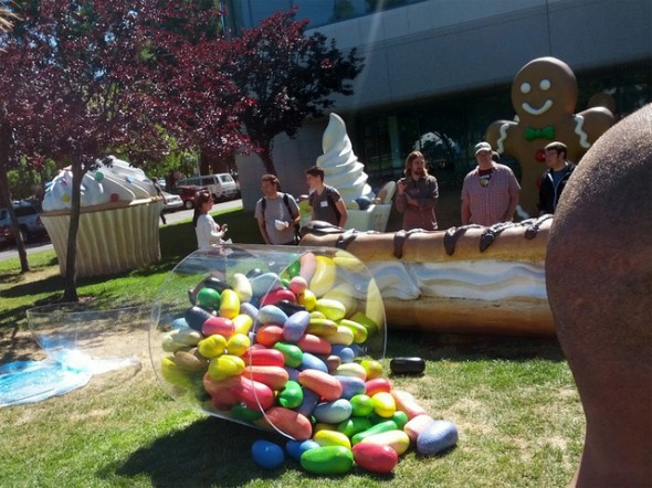 Jelly Bean sculpture on the lawn of Google's Mountain View headquarters