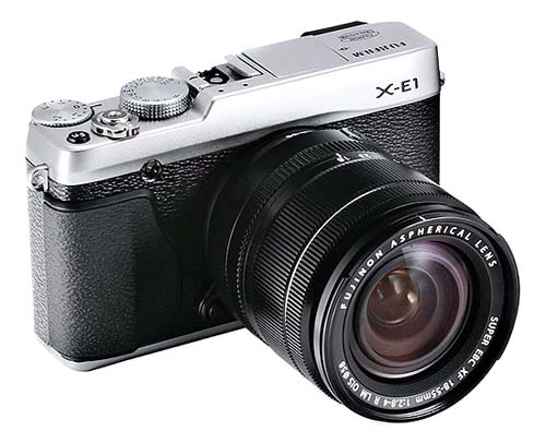 Fujifilm X-E1 silver with XF18-55mm lens