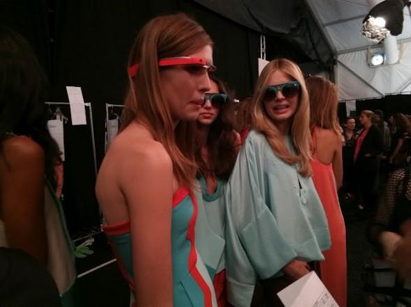 DVF fashion show model wearing Google Glass