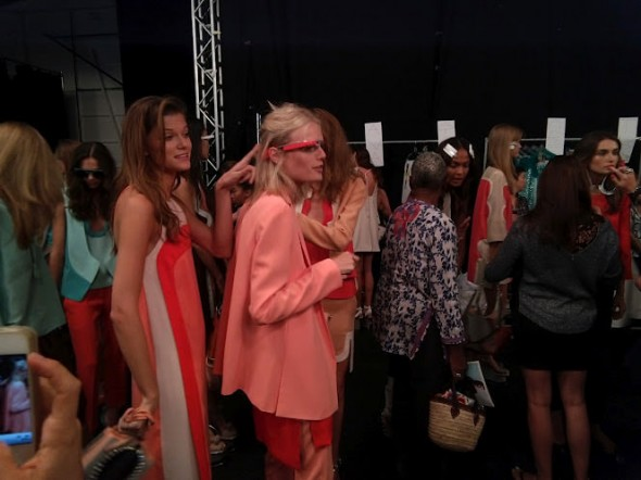DVF fashion show model wearing Google Glass