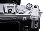 Fujifilm X-E1 silver top dials close-up