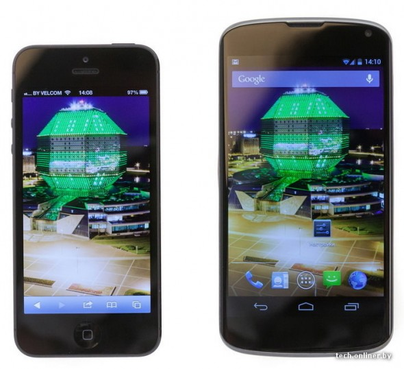 LG Google Nexus vs. iPhone 5 front